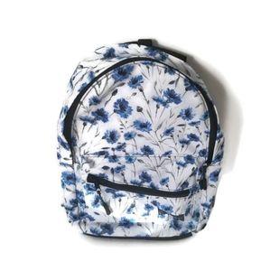 New Backpack Girls White Blue Flowers